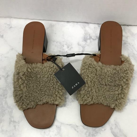 5545fe08123 Zara Basic Collection Brown Faux Fur Slides Sz 40.  M 5b2059b9aa8770b96bdc87e6